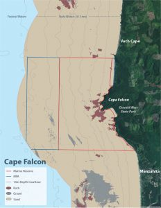Seafloor habitat map of Cape Falcon Marine Reserve